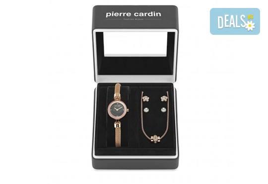Pierre Cardin - романтичен комплект в розово злато с часовник, 2 чифта обеци и колие - Снимка 2