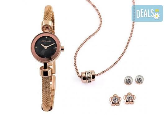 Pierre Cardin - романтичен комплект в розово злато с часовник, 2 чифта обеци и колие - Снимка 1