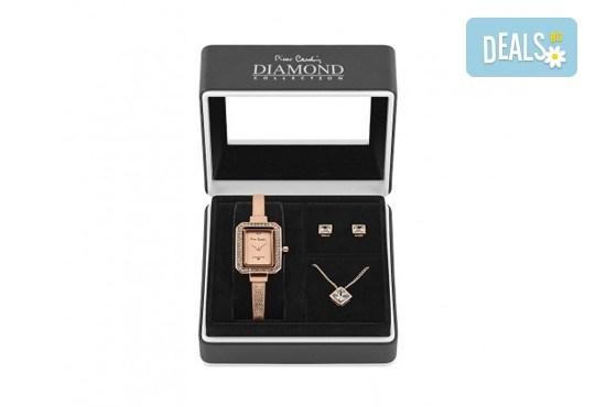 Pierre Cardin - романтичен комплект с часовник, колие и чифт обеци в розово злато - Снимка 2