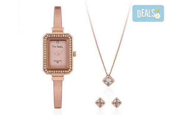Pierre Cardin - романтичен комплект с часовник, колие и чифт обеци в розово злато - Снимка 1