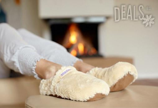 Нагряващи се и охлаждащи се Плюшени Пантофи - Бежови (41-45) от Warmies - Снимка 2