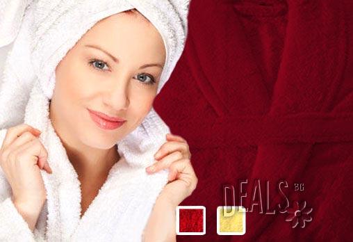Мислите ли за подаръци? Пухкав халат за баня с шал яка,100% памук, 450 гр/м2, цвят по избор, само за 24лв от ЕСА Корпорация!