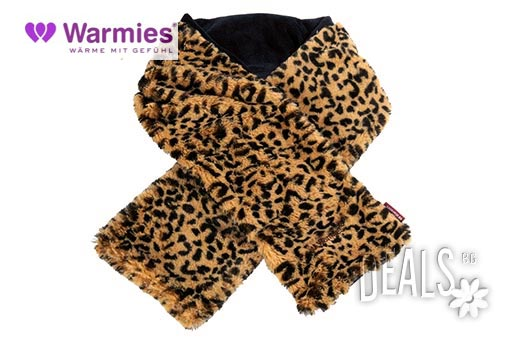 Плюшен нагряващ се и охлаждащ се шал леопард от Warmies - Снимка