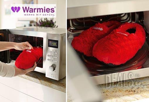 Плюшени нагряващи се и охлаждащи чехли делукс червени( 36-40 )от Warmies - Снимка 2