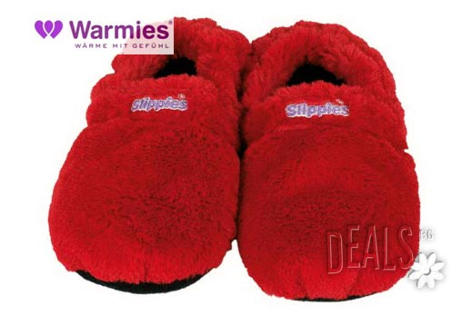 Плюшени нагряващи се и охлаждащи чехли делукс червени( 36-40 )от Warmies - Снимка