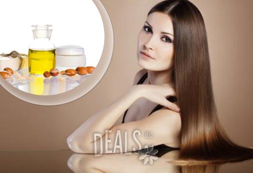 Погрижете се цялостно за косата си! Подстригване, масажно измиване, арганова терапия - маска със арганов екстракт за блясък и обем + арганово масло със или без сешоар на цени от 5.90лв в Салон за красота Феникс в Младост!