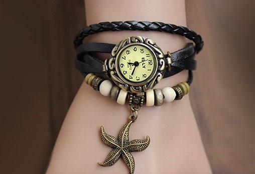 Дамски винтидж часовник, цвят черен, декорация - Морска звезда