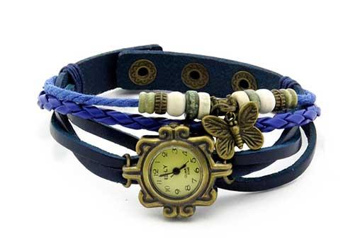 Дамски винтидж часовник, цвят син с декорация пеперуда