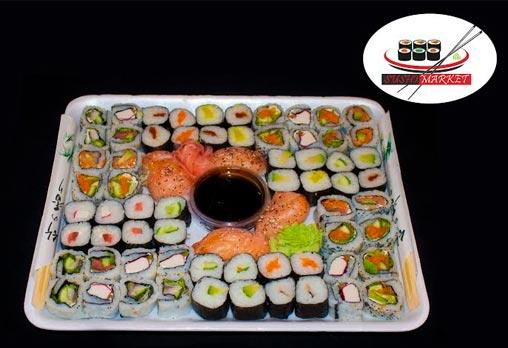 Апетитен суши сет от 72 хапки с пушена сьомга, филаделфия и херинга + възможност за доставка за София от Sushi Market!