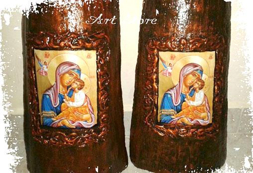 Репродукция на икона, изработена върху керемида! Изберете: Св.Богородица с Младенеца, Исус Христос, Св.Мина или Разпятие