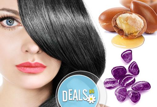 Подстригване, оформяне на прическа със сешоар, арганова или Аметист терапия за изтощени коси от Салон Женско Царство
