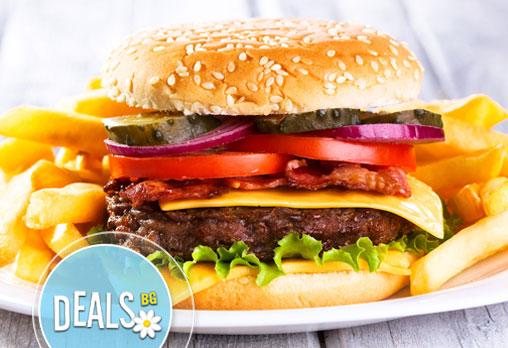 Хапнете вкусно хамбургери по избор с пилешко или телешко кюфте и сандвич Суджу от Пица&Дюнер Presto!