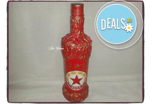 Ръчно декорирана бутилка бяло или червено вино Domaine Boyar с емблема по избор от Арт Магазин