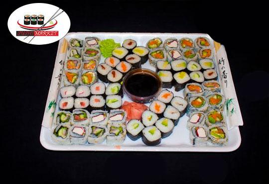 Екзотика! 64 вкусни суши хапкисъс сьомга, филаделфия, бяла и розова херинга + възможност за доставка от Sushi Market!