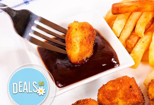 Вкусно лятно предложение! Плато хрупкави картофки, 3 вида панирани сирена и 2 бири в ресторант Интелкооп, Пловдив!