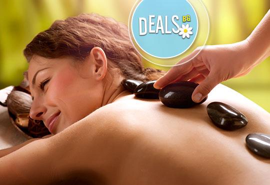 Заредете се с енергийна терапия! Масаж с топли вулканични камъни на цяло тяло във Friends - hair & beauty studio