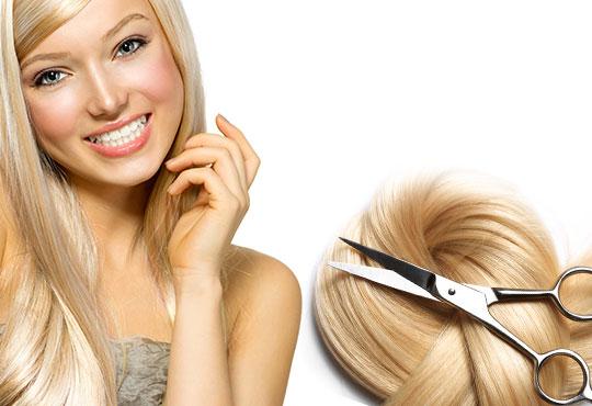 Подстригване + подхранваща терапия с продукти на L'Oreal и прическа със сешоар в Салон за красота Swarovski