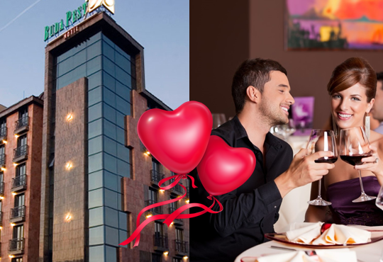 Свети Валентин в хотел Будапеща 3* в София! 1 нощувка с английска закуска и романтична вечеря за двама, кутия шоколадови бонбони и бутилка вино!
