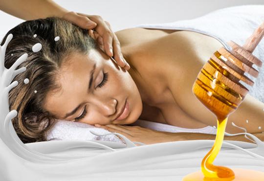 60 или 90-минутен СПА пакет Клеопатра - кралски източен масаж на цяло тяло, пилинг на гръб или цяло тяло с мед и мляко, масаж на глава и лице и Бонус!
