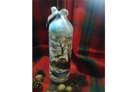 Подарък за празниците! Рисувана бутилка червено вино с празнична декорация + арт камбанка от Music for You! - Снимка 11