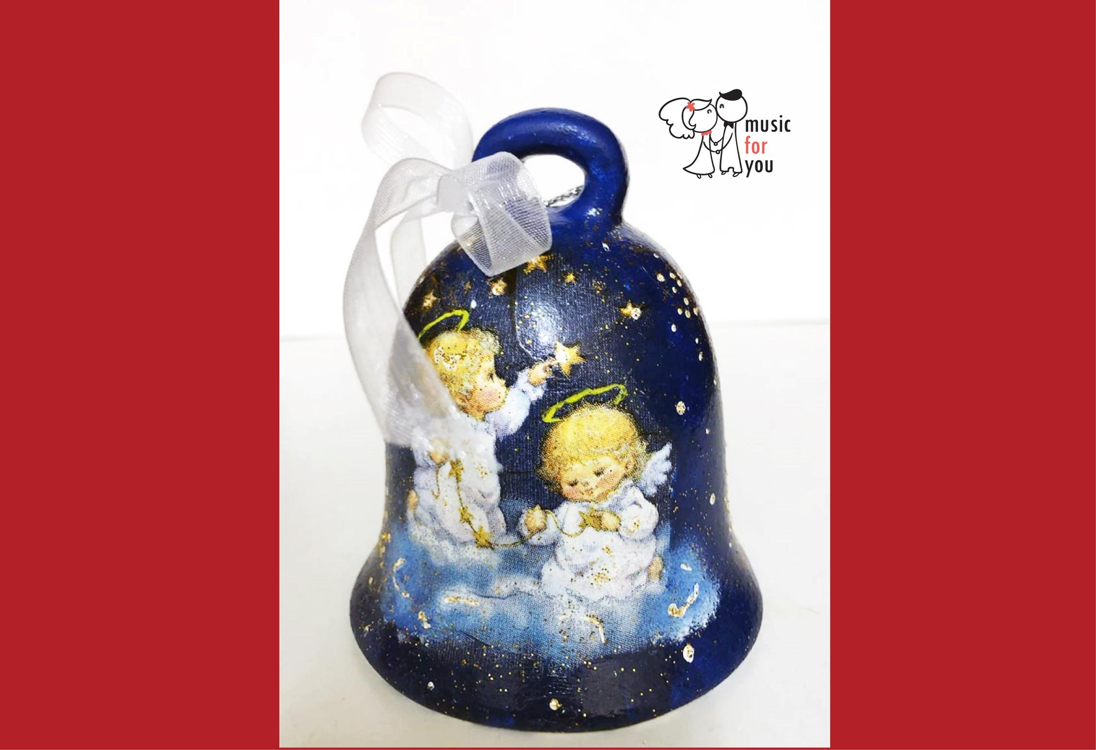 Подарък за празниците! Рисувана бутилка червено вино с празнична декорация + арт камбанка от Music for You! - Снимка 8