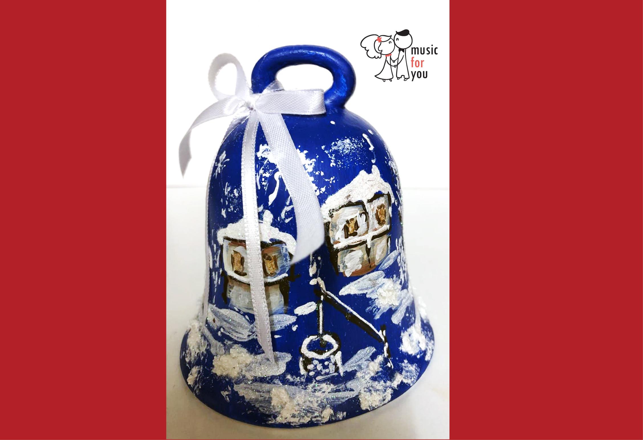 Подарък за празниците! Рисувана бутилка червено вино с празнична декорация + арт камбанка от Music for You! - Снимка 4