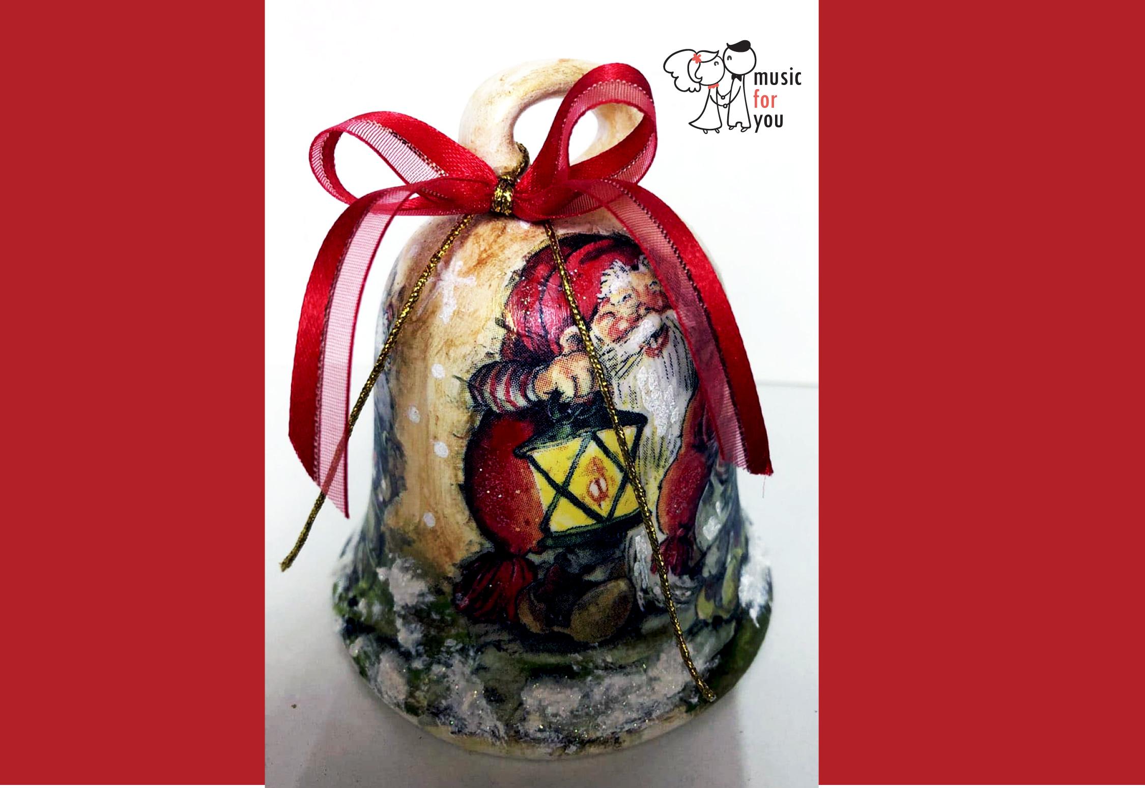 Подарък за празниците! Рисувана бутилка червено вино с празнична декорация + арт камбанка от Music for You! - Снимка 6