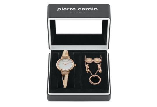 Красив подарък за празниците! Комплект часовник, колие и два чифта обеци на Pierre Cardin + безплатна доставка! - Снимка