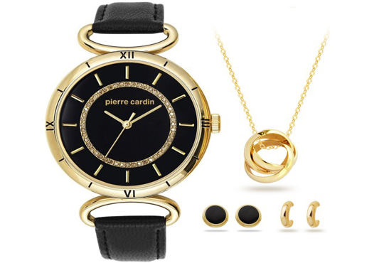 Стил и красота! Комплект часовник, колие и два чифта обеци на Pierre Cardin + безплатна доставка! - Снимка