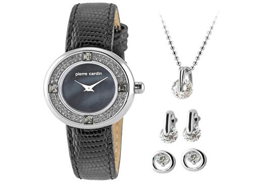 Романтичен комплект часовник, колие и два чифта обеци в сребристо и с кристали на Pierre Cardin + безплатна доставка! - Снимка