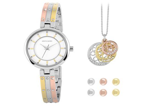 Комплект часовник с трицветна верижка, колие и три чифта обеци на Pierre Cardin + безплатна доставка! - Снимка