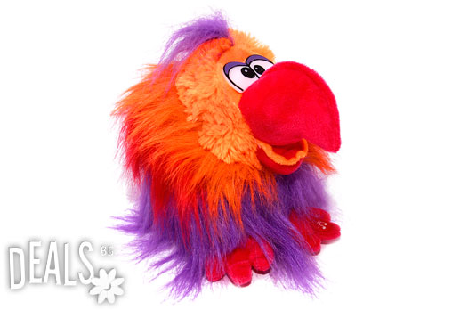 Говорещ плюшен папагал, червен